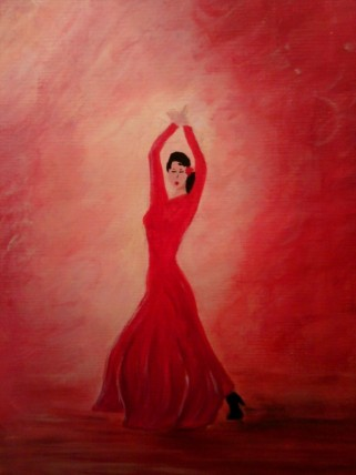 Flamenco=acrylic on paper