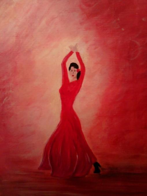 Flamenco=acrylic on paper