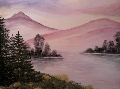 Mountain Lake-watercolor on paper
