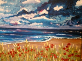 Poppies by the Shore-thick acrylic on canvas