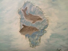 Porpoise=watercolor on print paper